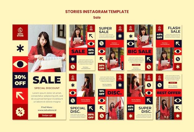 Storie di social media di vendite rosse