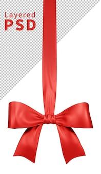빨간색 새틴 선물 리본 활 격리 됨