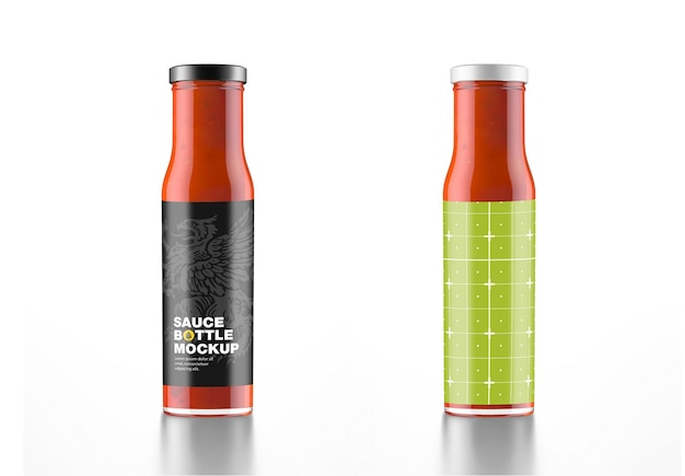 Red sauce bottle mockup