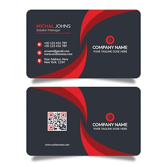 Red shape business card design psd