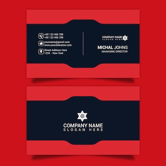 Red shape psd business card