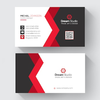 Red shape visit card template