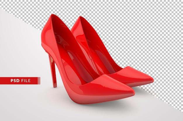Red shoes in 3d rendering design