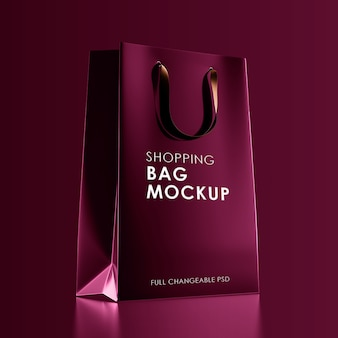 Red shopping bag mockup isolated