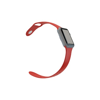 Red smart watch mockup
