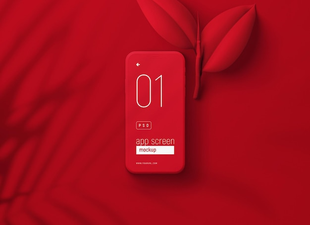 Red smartphone mockup with red leaves