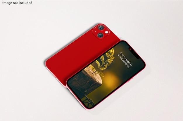 赤いスマートフォンのモックアップ