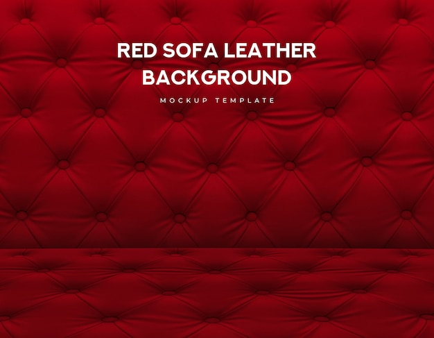 Red sofa classic couch leather with knob luxury pattern