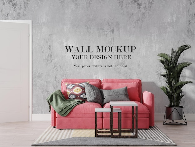 Red sofa in front of wall mockup
