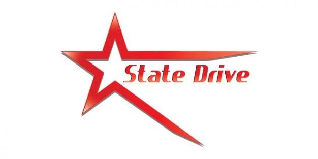 Red state drive logo design