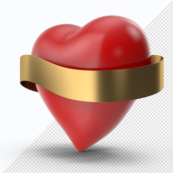 ゴールデンリボンの側面図と赤いバレンタインハート