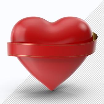 赤いリボンの正面図と赤いバレンタインハート