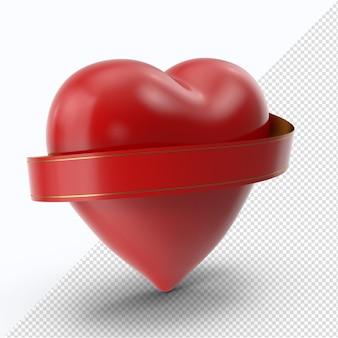 赤いリボンの側面図と赤いバレンタインハート