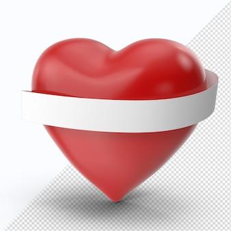 白いリボンと赤いバレンタインハート側面図