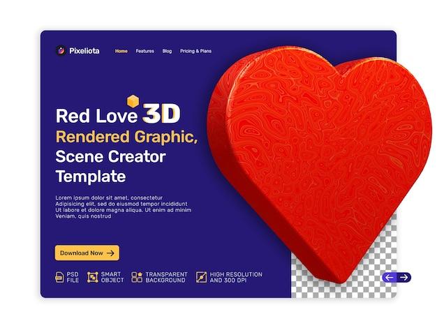 레드 발렌타인 사랑 3d 렌더링 디자인