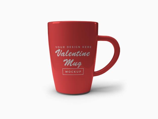 Red valentine mug mockup design isolated
