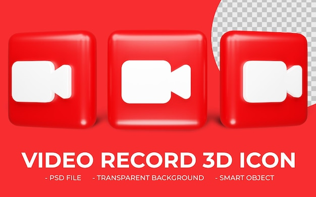 赤いビデオ録画アイコン3dレンダリングが分離されました