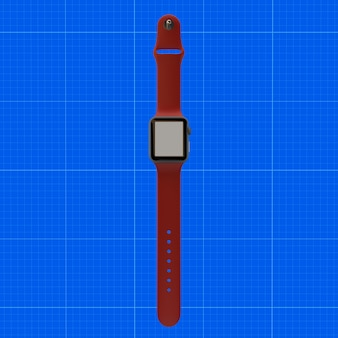 Red watch mockup
