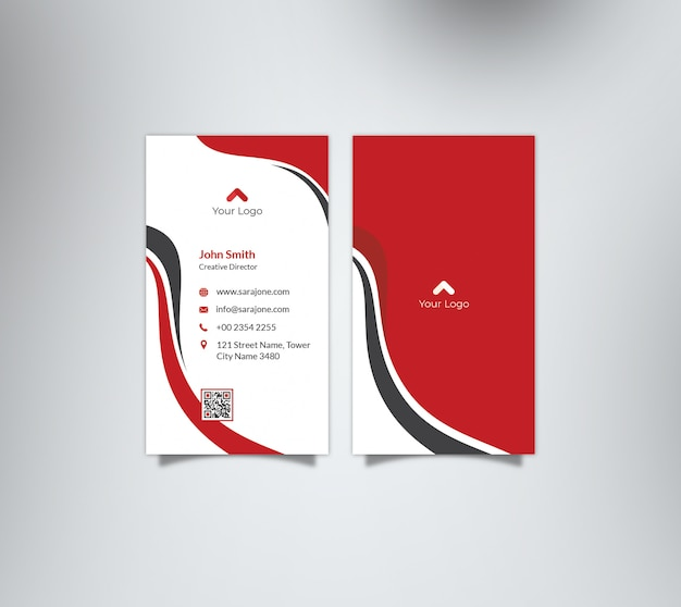 Red waves business card