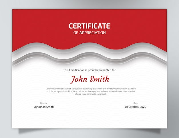 Red waves certificate template with polygon pattern