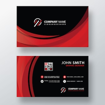 Red wavy business card layout