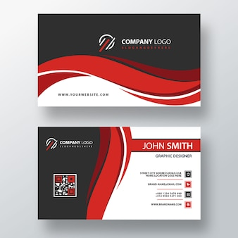 Red wavy psd business card template