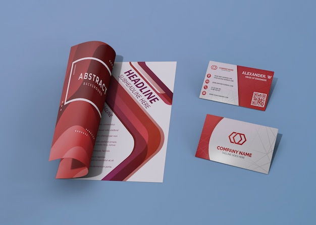 Red and white brand company business mock-up paper