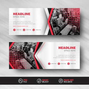 Red white business banner with halftone textured banner