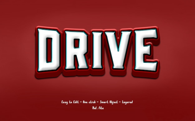 Red and white text effect style 3d
