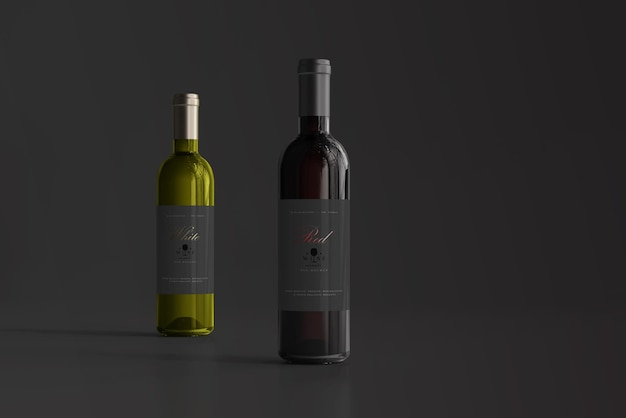 Red and white wine bottle mockup