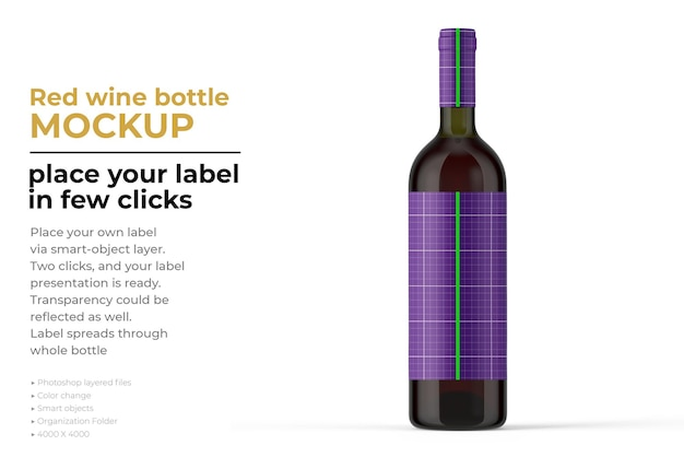 Red wine bottle mockup design in 3d rendering