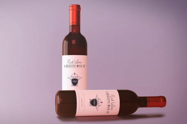 Red wine bottle mockup