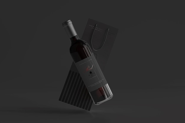 Red wine bottle with bag mockup