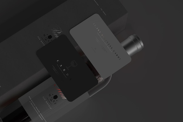 Red wine bottle with box and business cards mockup
