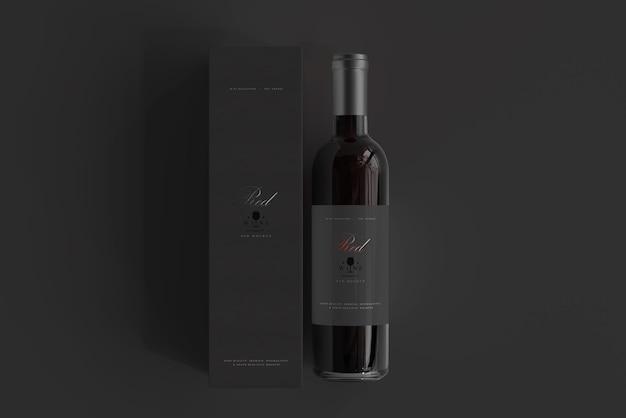 Бутылка красного вина с коробкой мокап