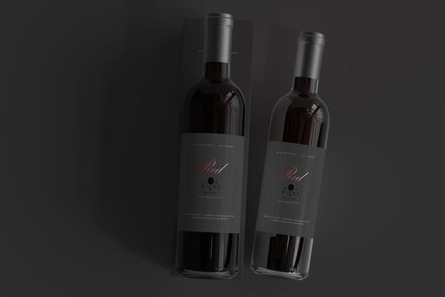 Red wine bottle with box mockup