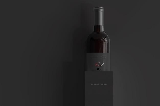 상자 모형과 레드 와인 병