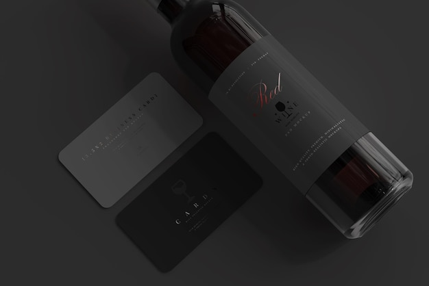 Red wine bottle with business card mockup