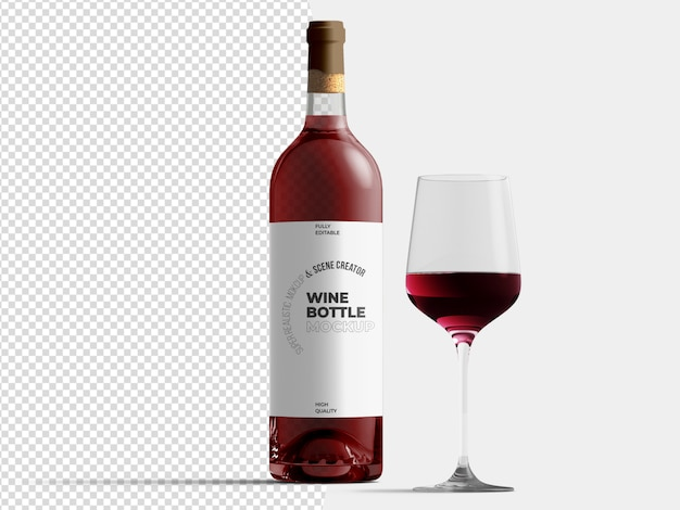 Red wine bottle with glass mockup template