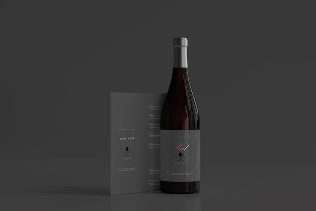 Red wine bottle with menu mockup