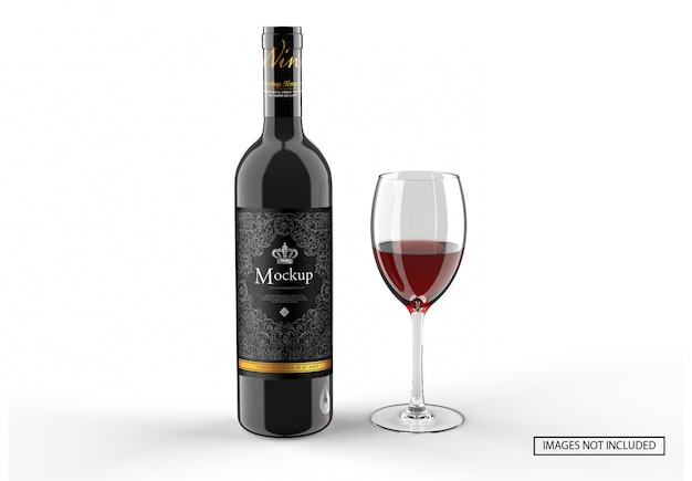Red wine liquor bottle and glass wine