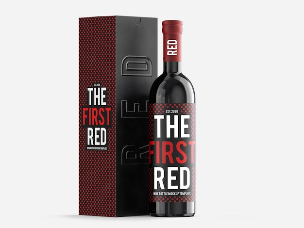 Red wine mockup template with gift box