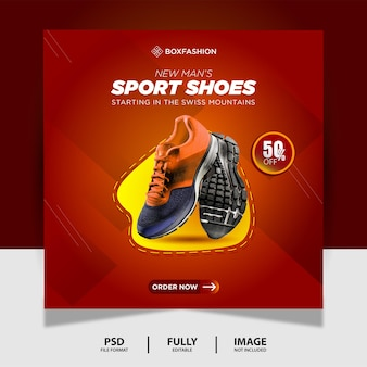 Red yellow sport shoes product social media post banner