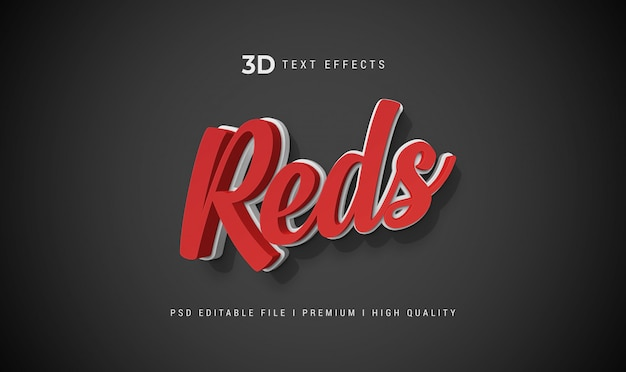 Reds 3d text style effect mockup