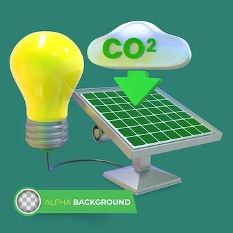 Co2排出量を削減します。 3dイラスト