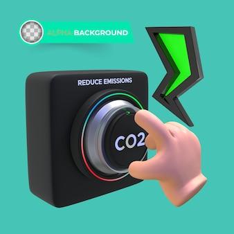 Reduce co2 emissions. 3d illustration