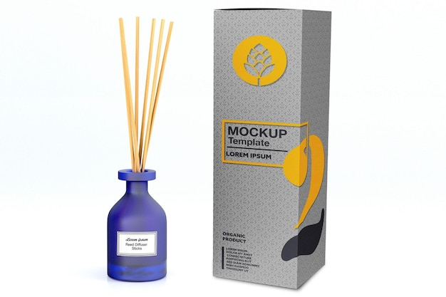 Reed diffuser glass bottle with box mockup design in 3d rendering