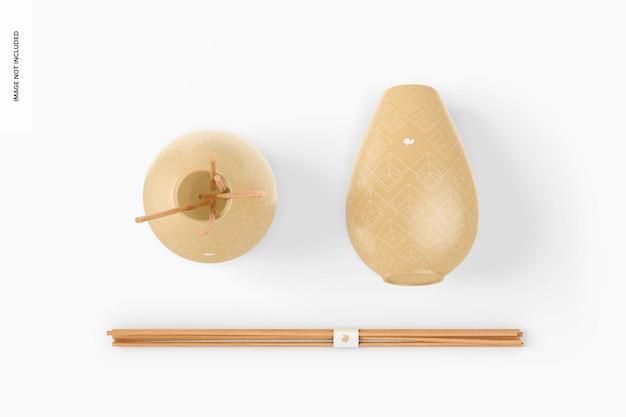 Mockup di vasi con diffusore a bastoncini, vista dall'alto