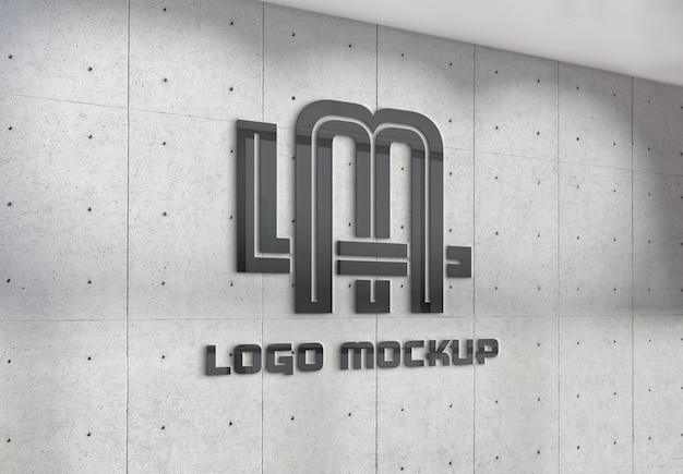 Reflecting logo on office wall mockup