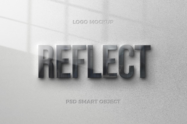 Reflection text style effect with text template design